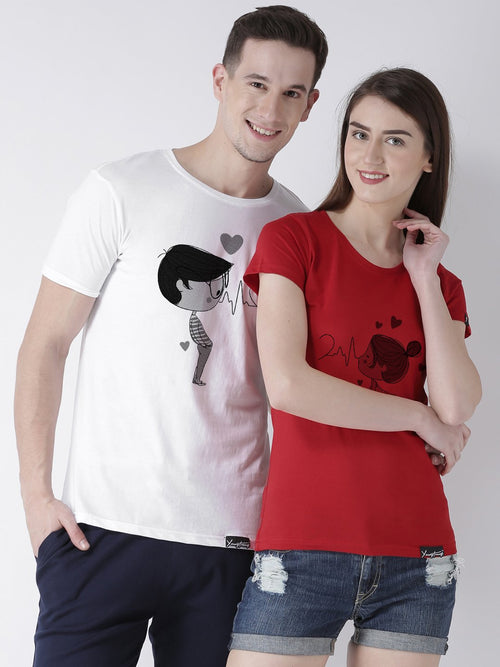 DUO-Half Sleeve Pulse Printed White(Men) Red(Women) Color Printed Couple Tshirts