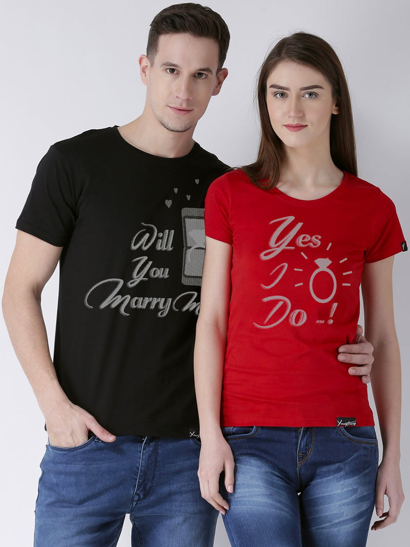 DUO-Marry me Printed Half Sleeve Black(Men) red(Women) Color Printed Couple Tshirts