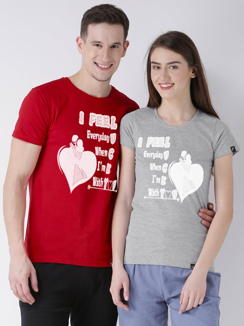 DUO-Lucky Printed Half Sleeve Red(Men) Grey(Women) Color Printed Couple Tshirts