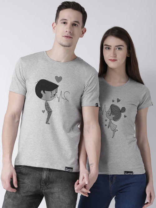 DUO-Half Sleeve Pulse Printed Grey Color Couple Tshirts