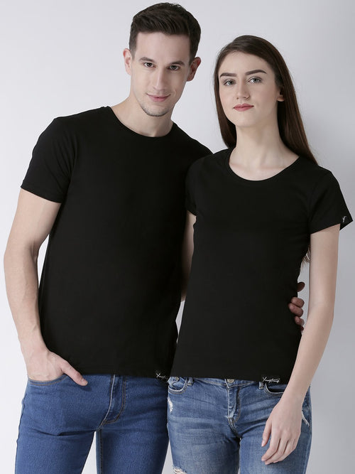DUO-Half Sleeve Black Color Plain Couple Tshirts
