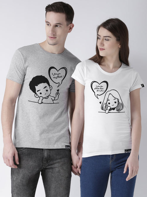 DUO-Half Sleeve Love you Printed Grey(Men) White(Women) Color Printed Couple Tshirts