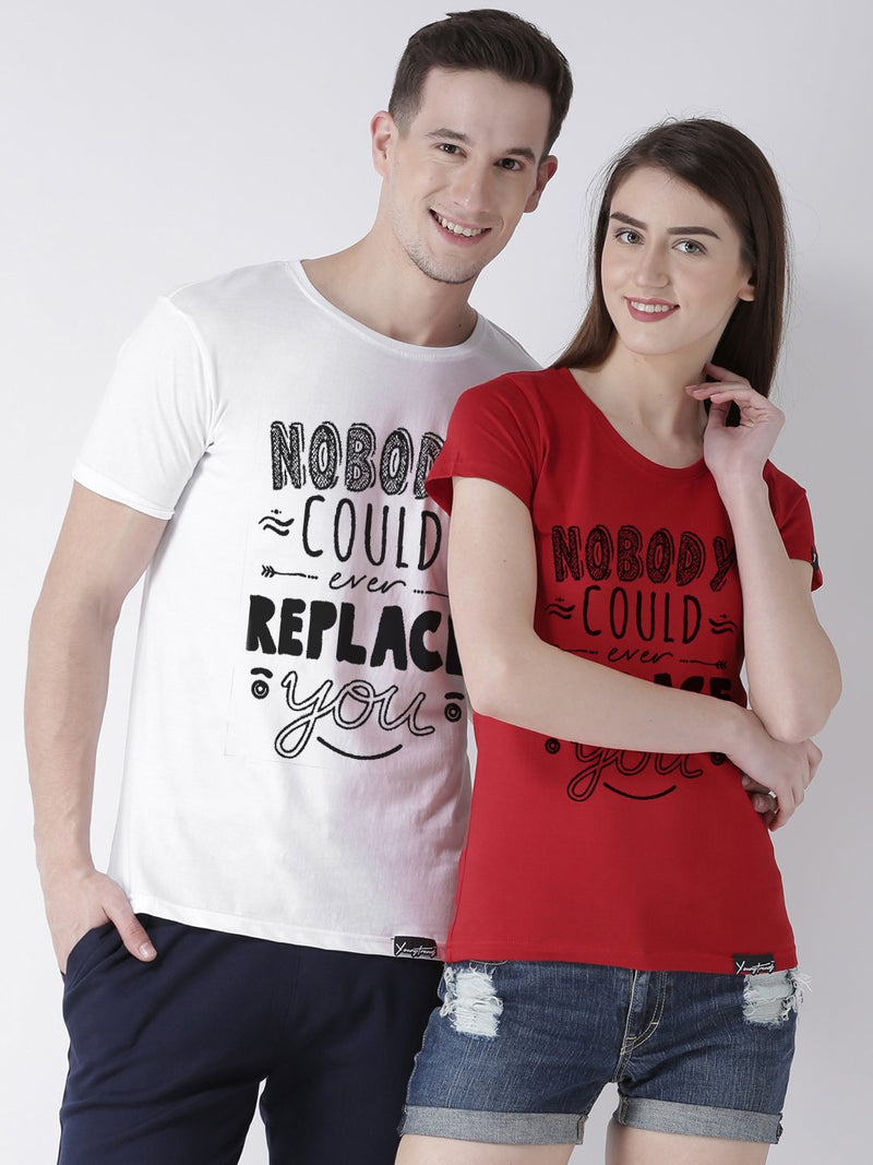 DUO-Half Sleeve Nobody Printed White(Men) Red(Women) Color Printed Couple Tshirts