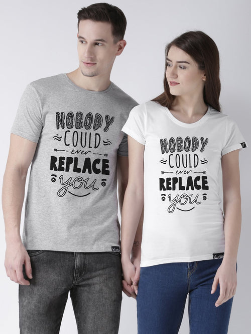 DUO-Half Sleeve Nobody Printed Grey(Men) White(Women) Color Printed Couple Tshirts