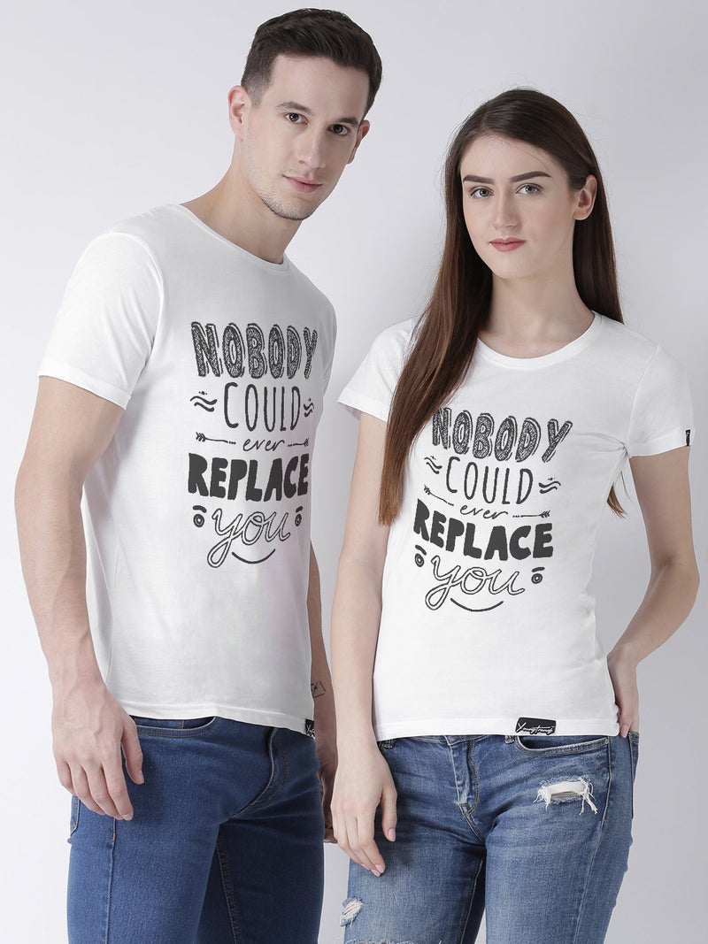 DUO-Half Sleeve Nobody Printed White Color Couple Tshirts