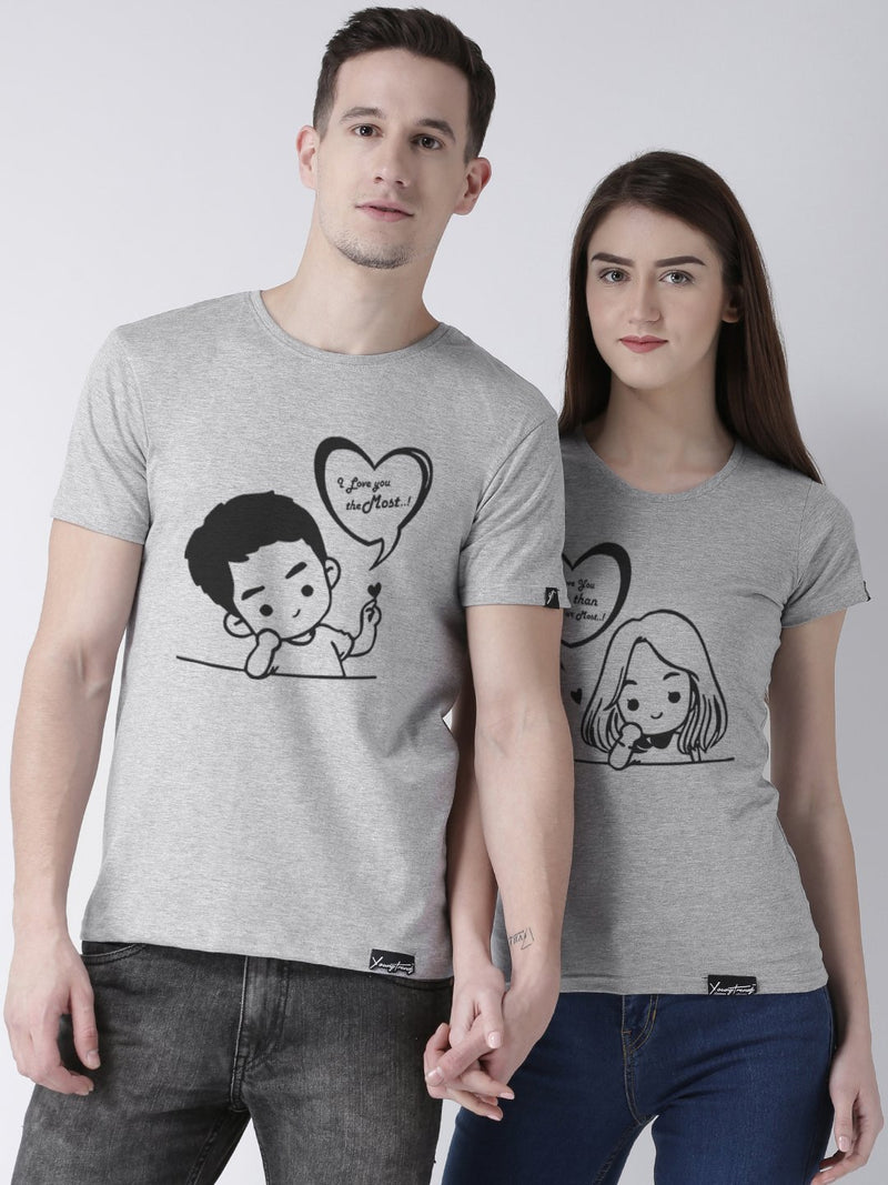 DUO-Half Sleeve Love you Printed Grey Color Couple Tshirts