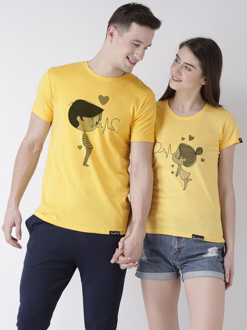 DUO-Half Sleeve Pulse Printed Yellow Color Couple Tshirts