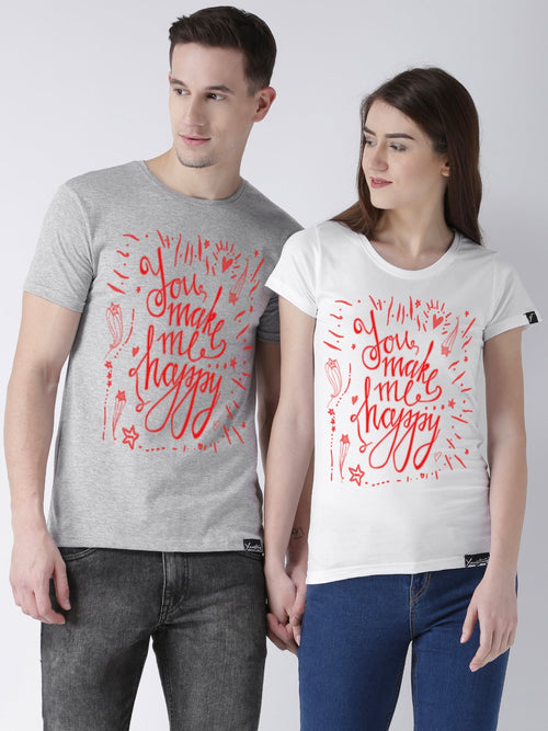 DUO-Happy Printed Half Sleeve Grey(Men) White(Women) Color Printed Couple Tshirts