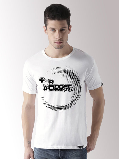 Half Sleeve Prospin Printed White Color Tshirts