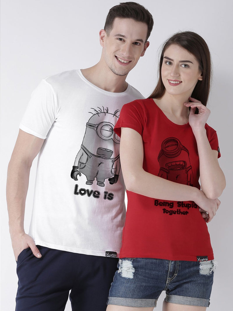 DUO-Half Sleeve Minions Printed White(Men) Red(Women) Color Printed Couple Tshirts