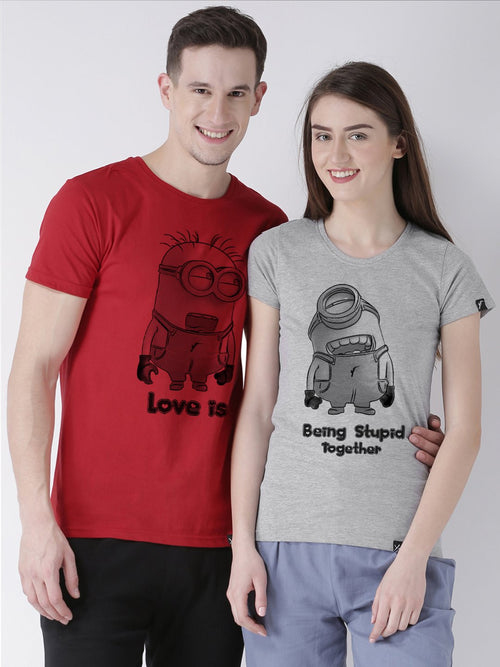 DUO-Half Sleeve Minions Printed Red(Men) Grey(Women) Color Printed Couple Tshirts