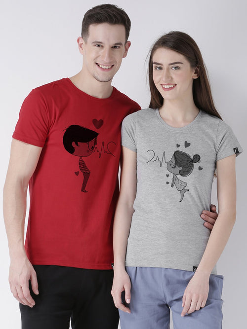 DUO-Half Sleeve Pulse Printed Red(Men) Grey(Women) Color Printed Couple Tshirts