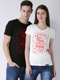 DUO-Happy Printed Half Sleeve Black(Men) White(Women) Color Printed Couple Tshirts