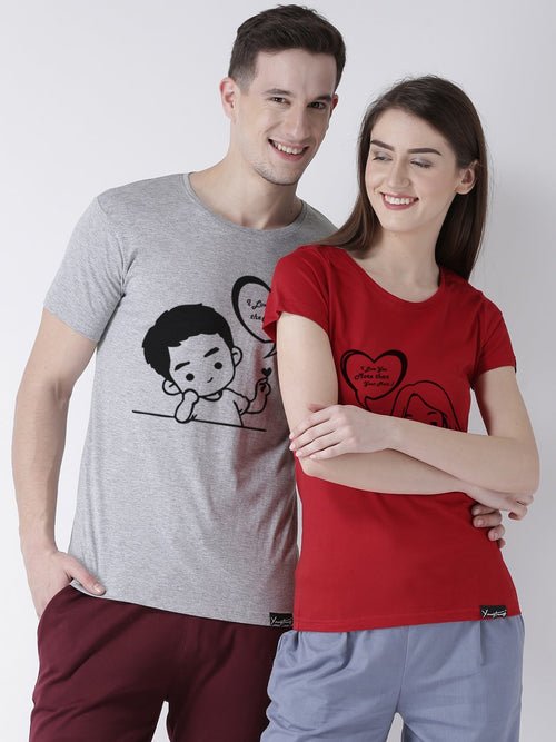DUO-Half Sleeve Love you Printed Grey(Men) Red(Women) Color Printed Couple Tshirts