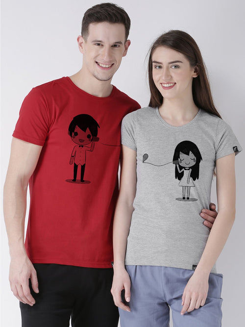 DUO-Half Sleeve Phone Printed Red(Men) Grey(Women) Color Printed Couple Tshirts