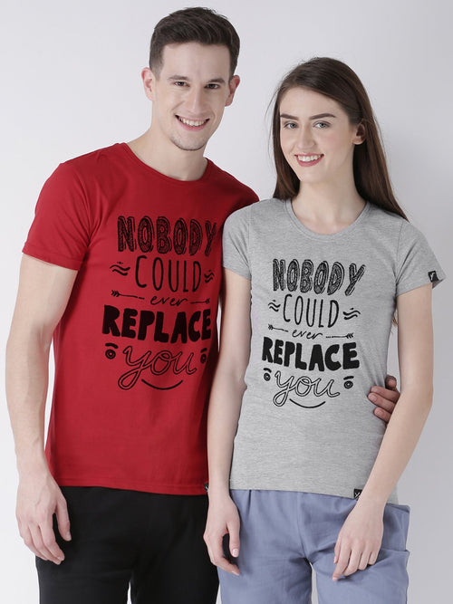 DUO-Half Sleeve Nobody Printed Red(Men) Grey(Women) Color Printed Couple Tshirts
