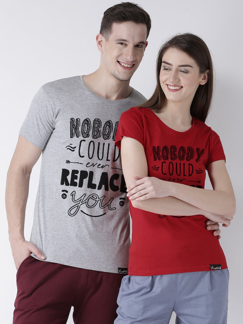 DUO-Half Sleeve Nobody Printed Grey(Men) Red(Women) Color Printed Couple Tshirts