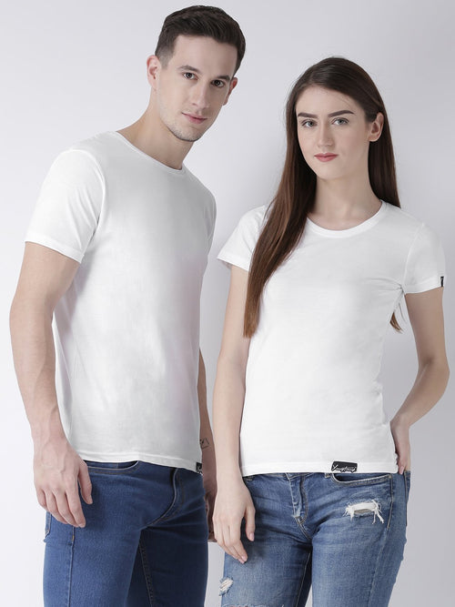 DUO-Half Sleeve White Color Plain Couple Tshirts