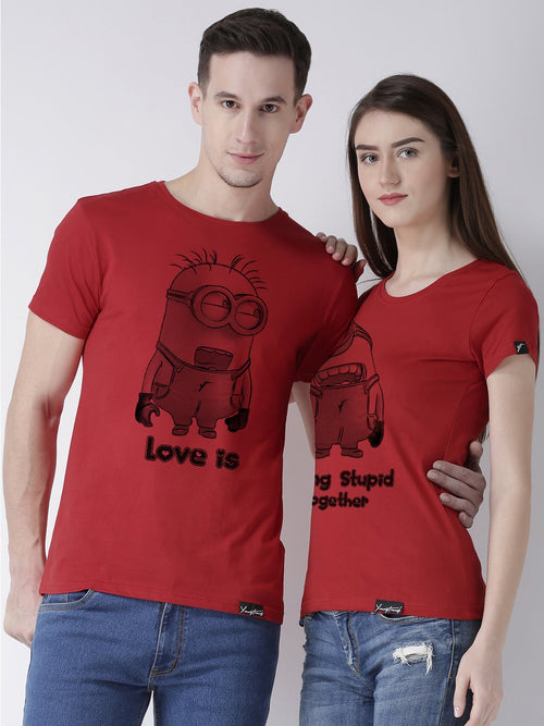 DUO-Half Sleeve Minions Printed Red Color Couple Tshirts