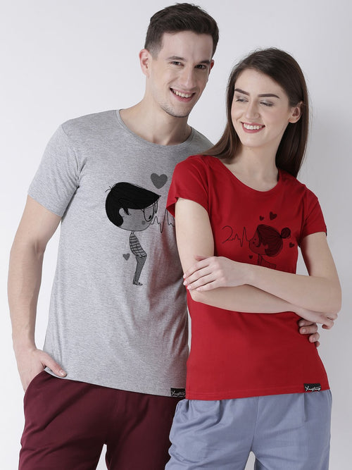 DUO-Half Sleeve Pulse Printed Grey(Men) Red(Women) Color Printed Couple Tshirts