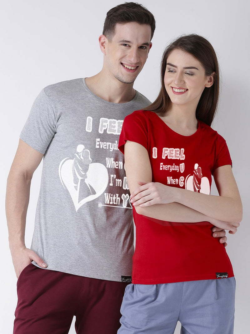 DUO-Lucky Printed Half Sleeve Grey(Men) red(Women) Color Printed Couple Tshirts