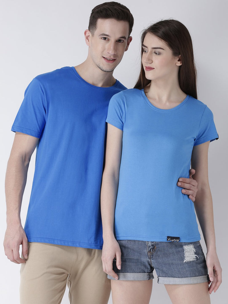 DUO-Half Sleeve Skyblue Color Plain Couple Tshirts