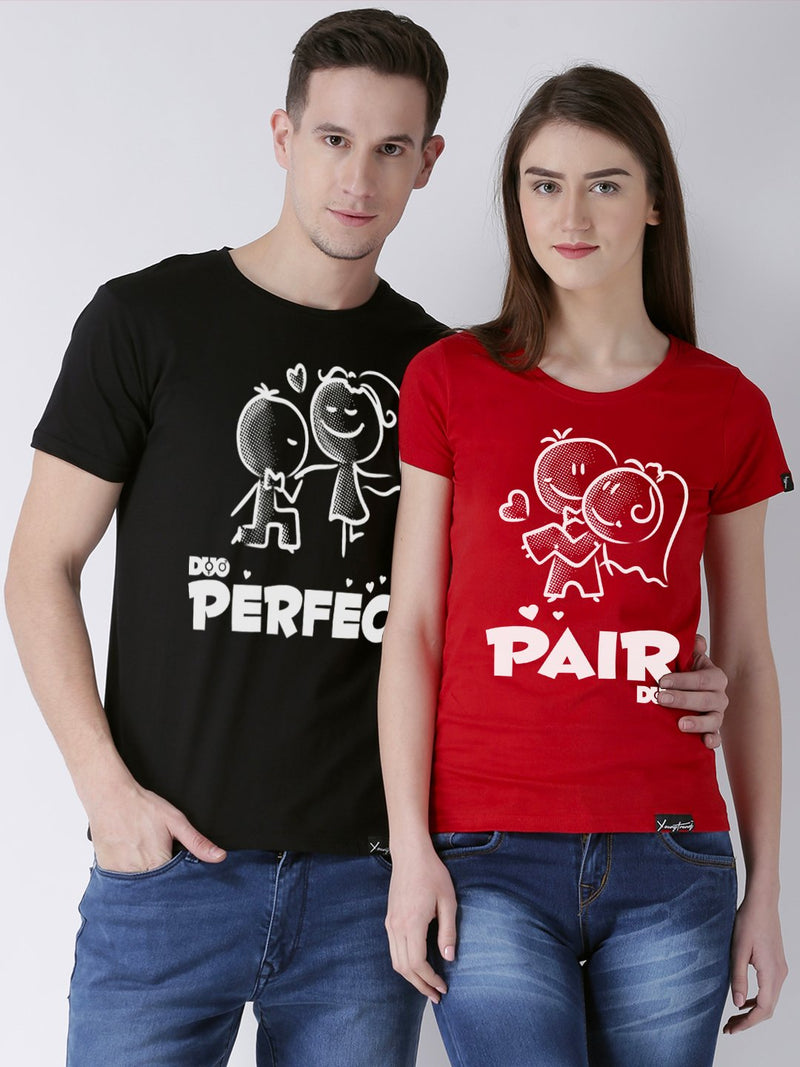 DUO-Perfect Printed Half Sleeve Black(Men) red(Women) Color Printed Couple Tshirts
