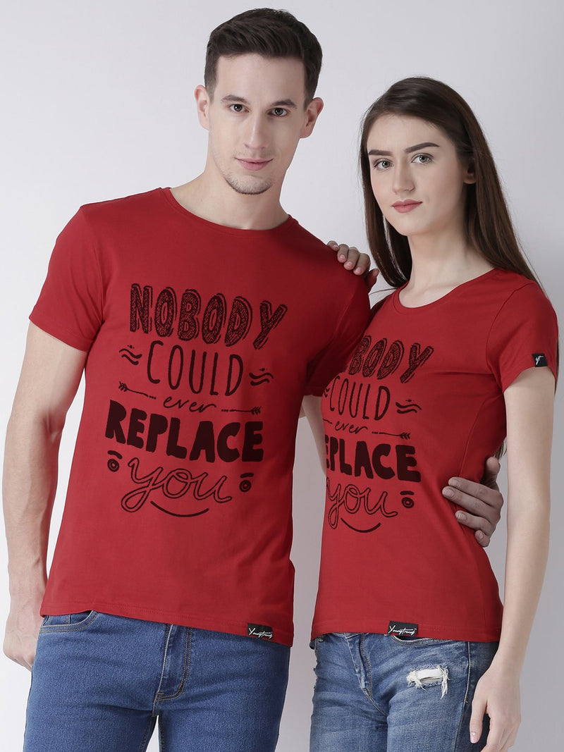 DUO-Half Sleeve Nobody Printed Red Color Couple Tshirts