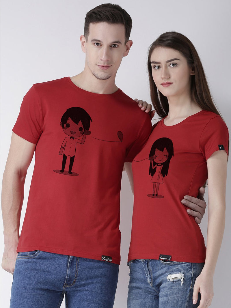 DUO-Half Sleeve Phone Printed Red Color Couple Tshirts