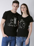 DUO-Half Sleeve Marry me Printed Black Color Couple Tshirts