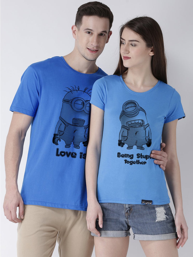 DUO-Half Sleeve Minions Printed Skyblue Color Couple Tshirts