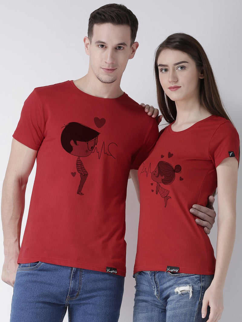 DUO-Half Sleeve Pulse Printed Red Color Couple Tshirts