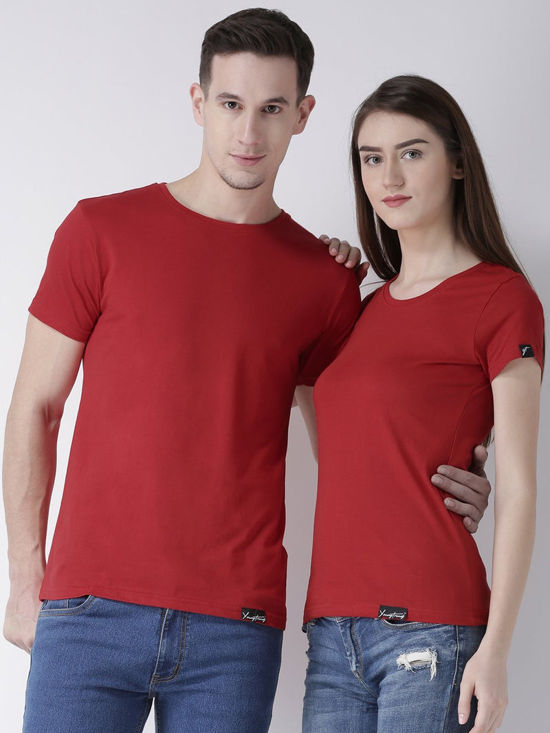 DUO-Half Sleeve Red Color Plain Couple Tshirts