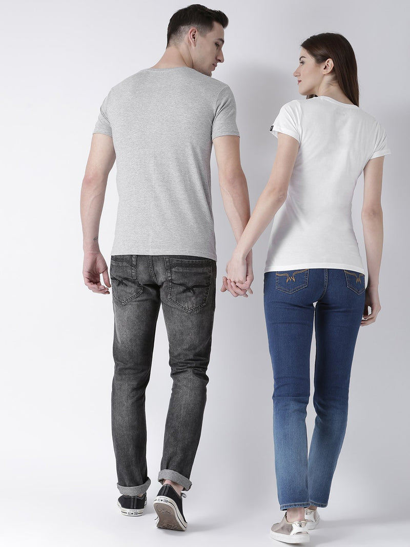 DUO-Half Sleeve Pulse Printed Grey(Men) White(Women) Color Printed Couple Tshirts