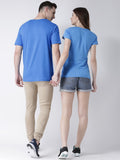 DUO-Half Sleeve Nobody Printed Skyblue Color Couple Tshirts