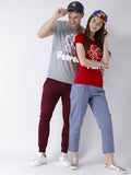 DUO-Perfect Printed Half Sleeve Grey(Men) red(Women) Color Printed Couple Tshirts