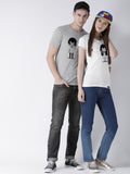 DUO-Half Sleeve Phone Printed Grey(Men) White(Women) Color Printed Couple Tshirts