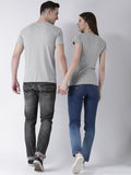 DUO-Half Sleeve Nobody Printed Grey Color Couple Tshirts