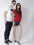 DUO-Half Sleeve Phone Printed White(Men) Red(Women) Color Printed Couple Tshirts