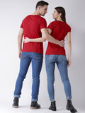 DUO-Half Sleeve All of me Printed Red Color Couple Tshirts