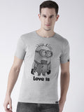 DUO-Half Sleeve Minions Printed Grey(Men) White(Women) Color Printed Couple Tshirts
