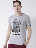 DUO-Half Sleeve Minions Printed Grey(Men) Red(Women) Color Printed Couple Tshirts