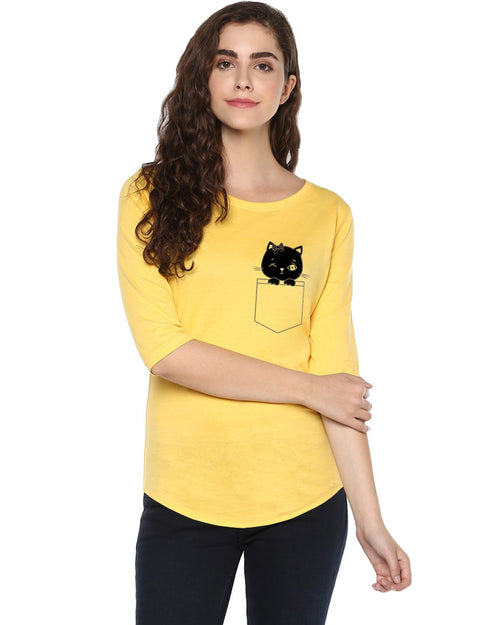 Womens 34U  Cat Printed Blue  Yellow Color Tshirts