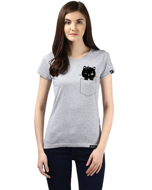 Womens Half Sleeve Cat Printed Grey Color Tshirts