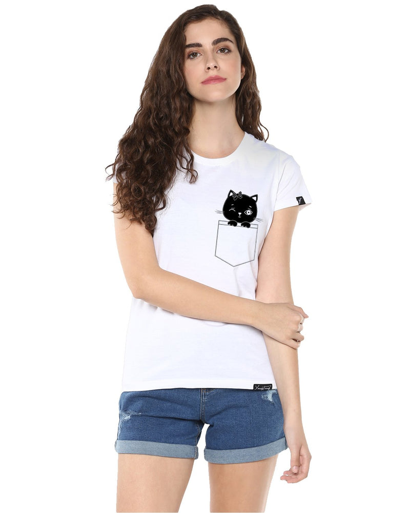 Womens Half Sleeve Cat Printed White Color Tshirts