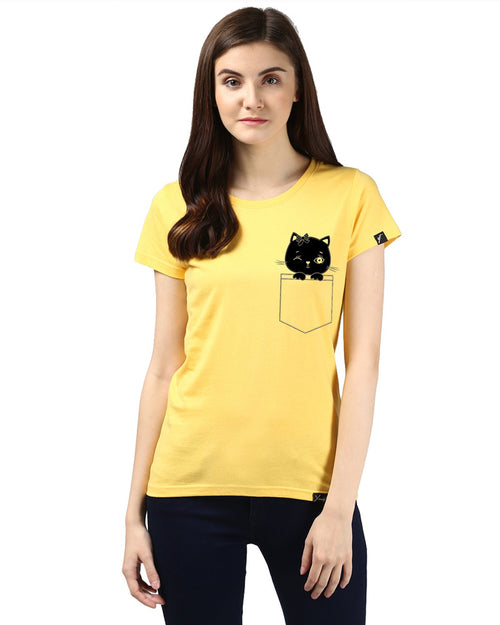 Womens Half Sleeve Cat Printed Yellow Color Tshirts