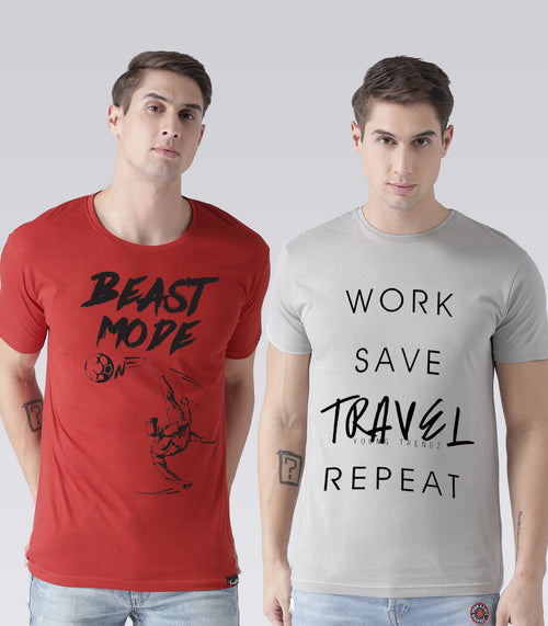 Young Trendz Mens Combo Beast Red Color and Travel Steel Grey Color Half Sleeve Printed T-Shirts