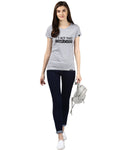 Womens Half Sleeve Complicated Printed Grey Color Tshirts