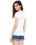 Womens Half Sleeve Complicated Printed White Color Tshirts