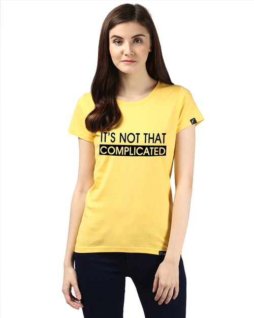 Womens Half Sleeve Complicated Printed Yellow Color Tshirts